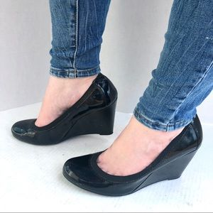 BCBGeneration Shiny Black Stretch Wedge Heels 9